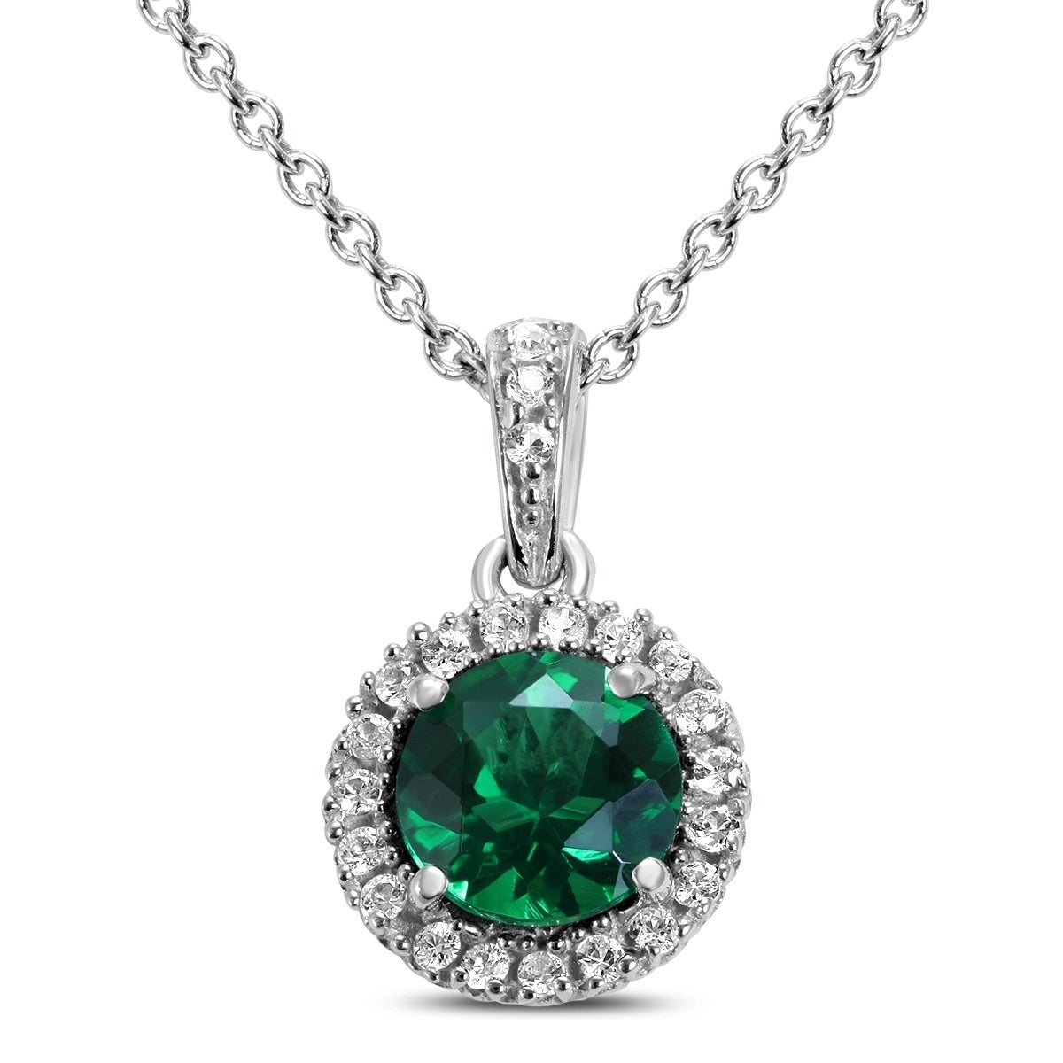 Lab Created Emerald And White Sapphire Halo Pendant Necklace In (View 16 of 25)