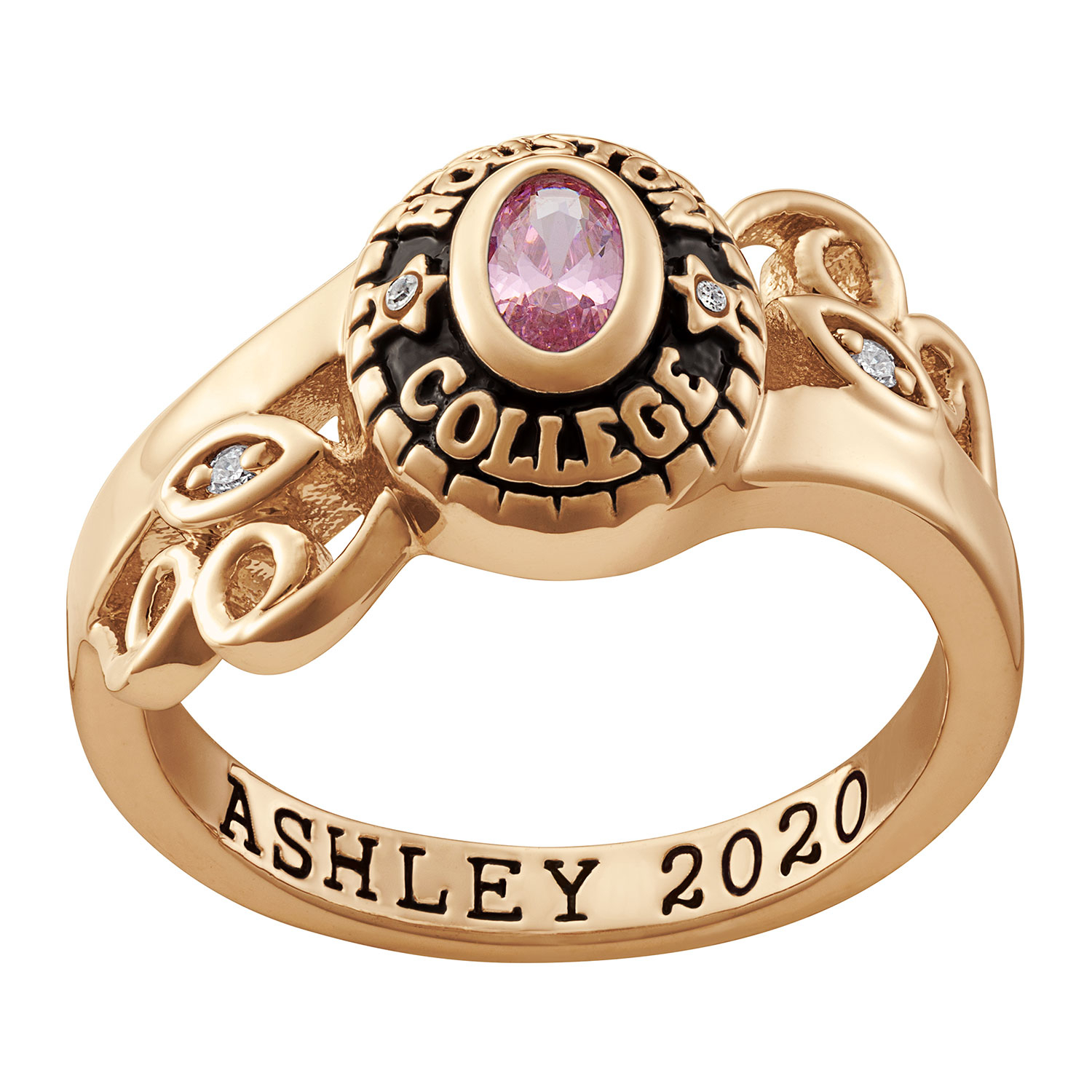 """Ladies' Oval Birthstone And Diamond Accent Scroll Class Ring In Sterling  Silver With 18K Gold Plate (1 Stone)