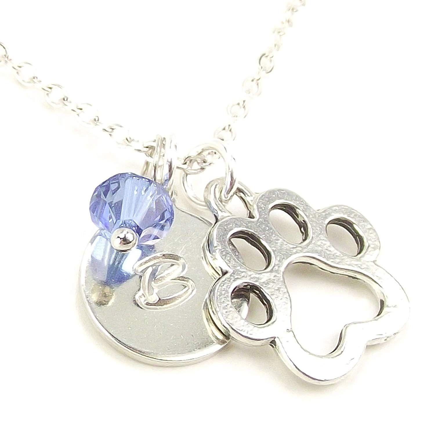 Lafenne Personalized Paw Print Necklace With Custom Engraved Intended For Most Recently Released Letter E Alphabet Locket Element Necklaces (View 12 of 25)