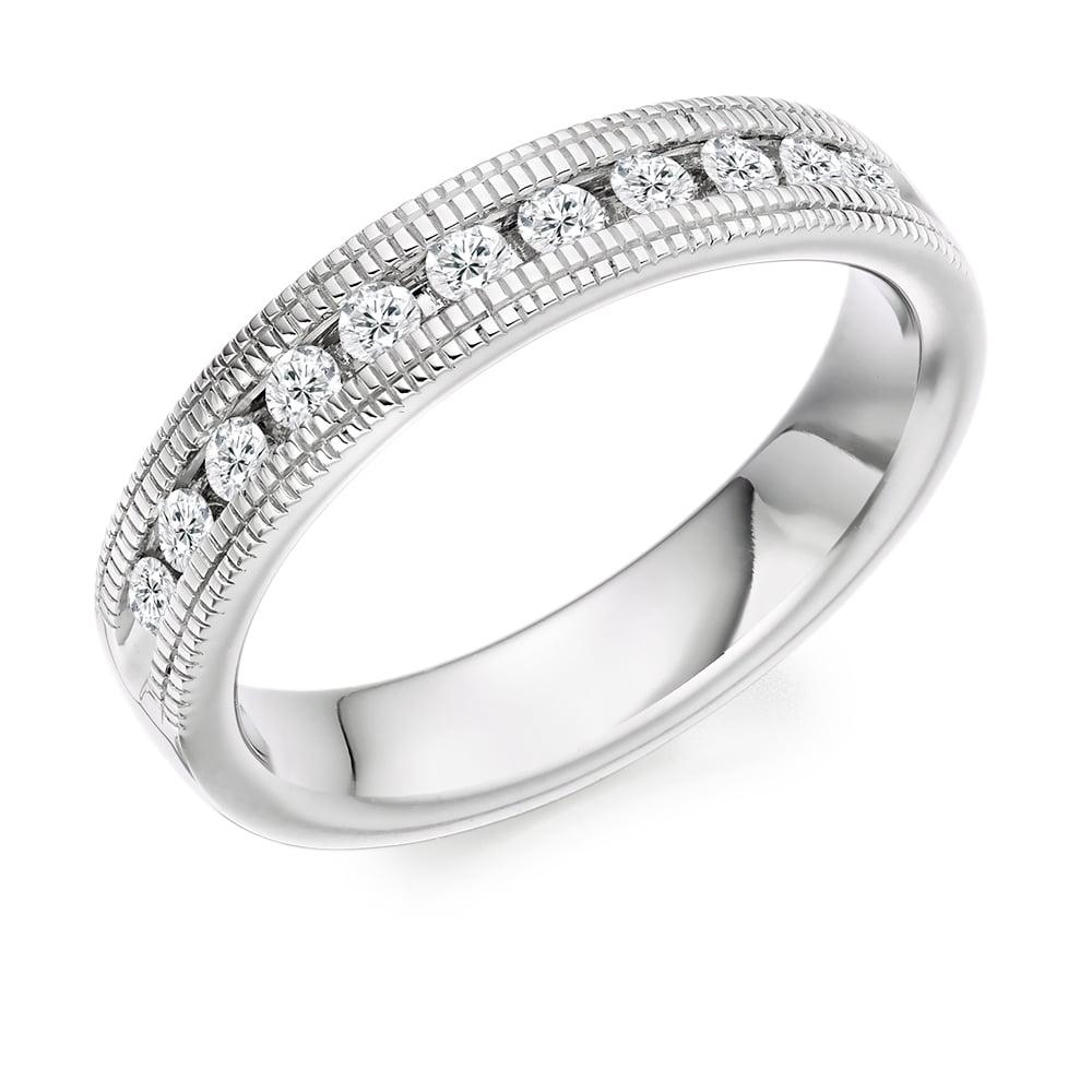 Lance James Wedding & Eternity 18ct White Gold Vintage Style Milgrain (View 10 of 25)