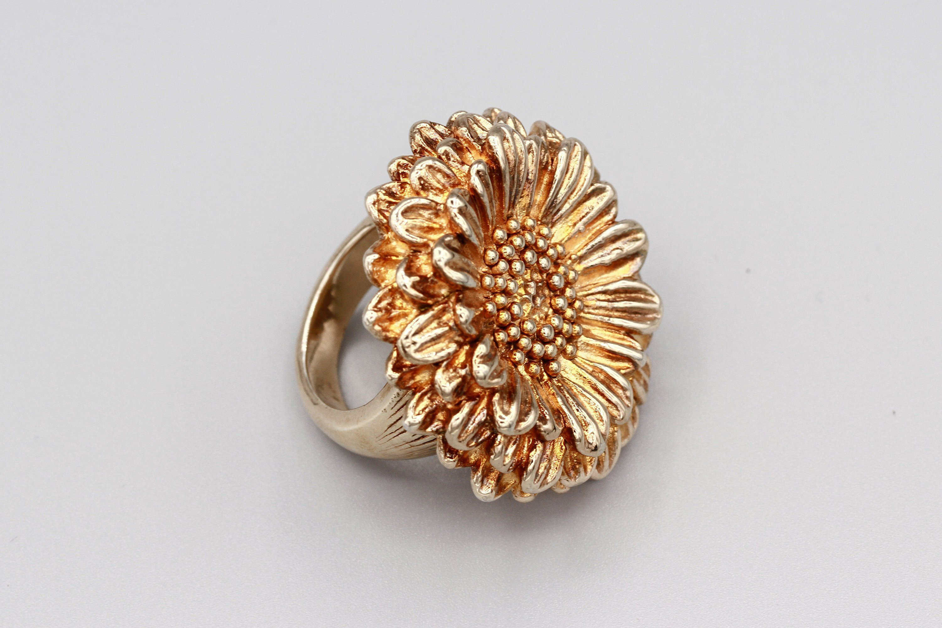 Large Daisy Flower Ring Size 7, Big Sterling Silver Gold Finish Statement Ring In Current Daisy Flower Rings (View 17 of 25)