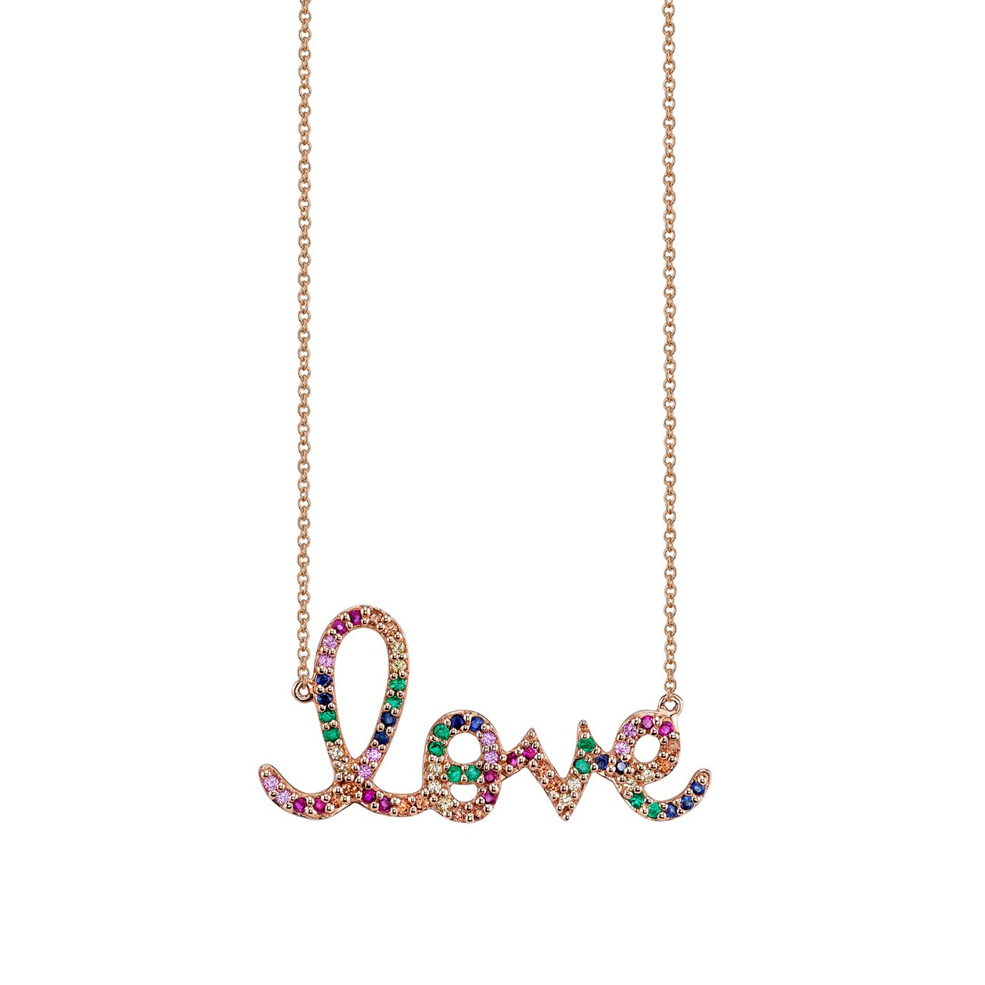 Large Gold Rainbow Love Necklace Inside Best And Newest Loved Script Necklaces (View 24 of 25)