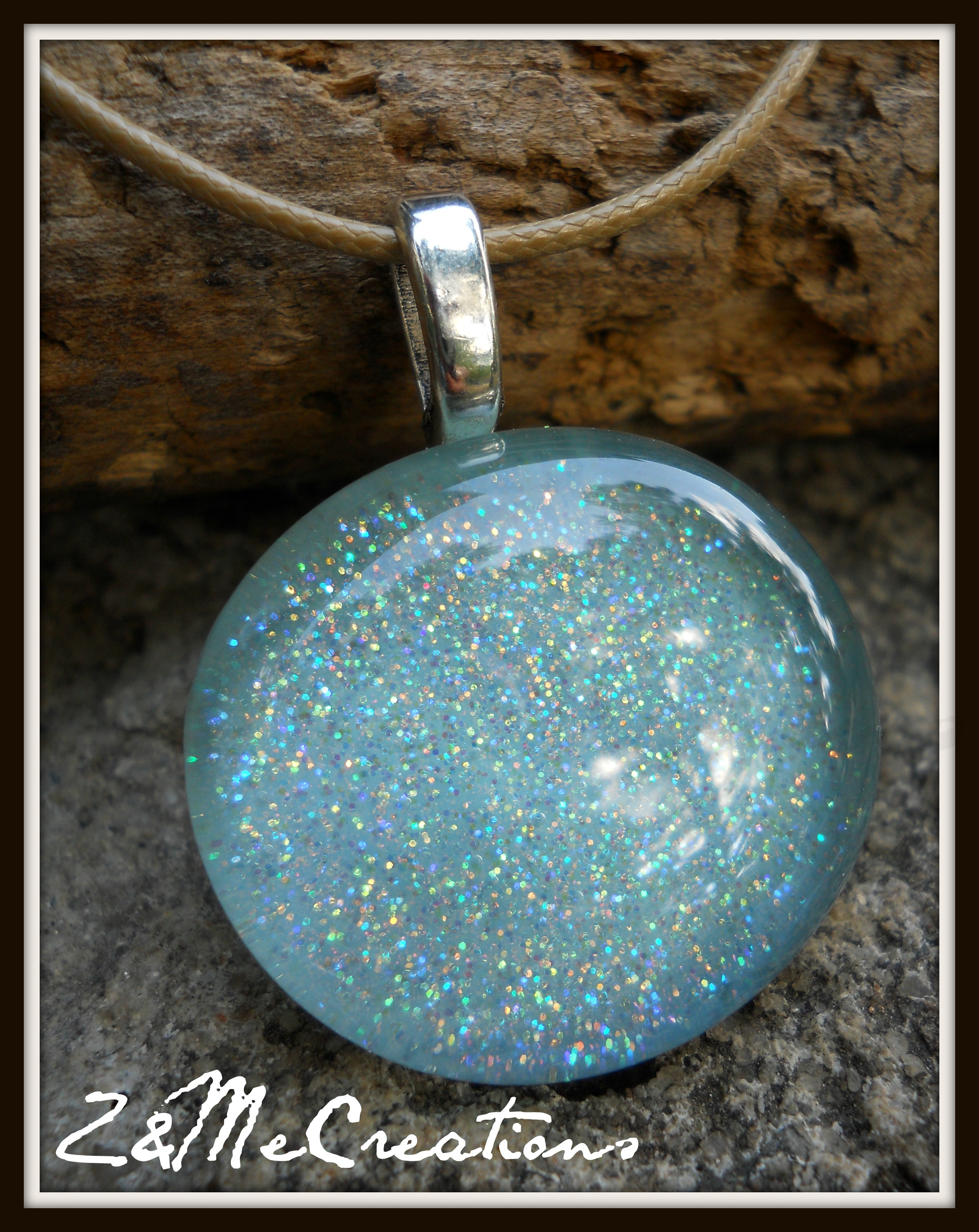 Large Mermaid Stone Sparkle Pendant Necklace (light Blue) **ooak** From Znmecreations Pertaining To Most Current Sparkling Stones Pendant Necklaces (View 12 of 25)