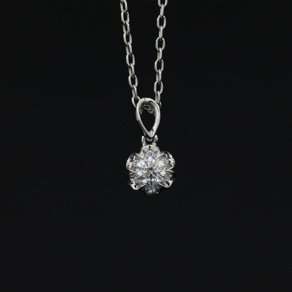 Lasamero Halo 0.307Ct 18K Gold Round Cut Square Center Pave Set Pertaining To Best And Newest Square Sparkle Halo Necklaces (Gallery 24 of 25)