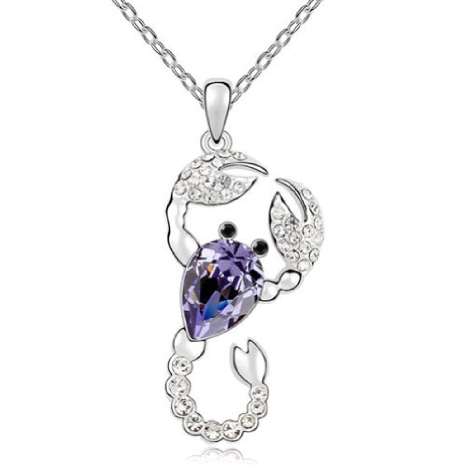 Latigerf Scorpion Pendant Necklace White Gold Plated Swarovski In Most Current Purple Ladybird Locket Element Necklaces (View 4 of 25)