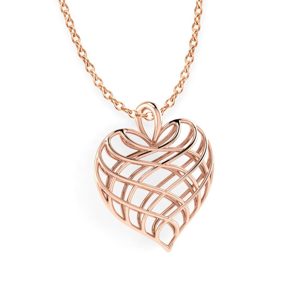Lattice Heart Necklace | Rose Gold Jewelry | Jewelry, Heart Jewelry Throughout Most Recently Released Heart Fan Pendant Necklaces (Gallery 8 of 25)