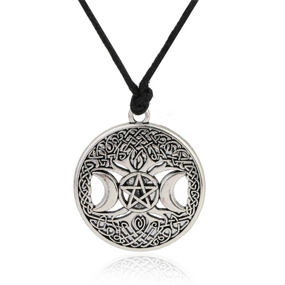 Lemegeton Knot Triple Moon Goddess Pentacle Adjustable Rope Chain Pendant Necklace Men Witchcraft Jewelry Wicca Charms Inside Current Shimmering Knot Locket Element Necklaces (View 25 of 25)