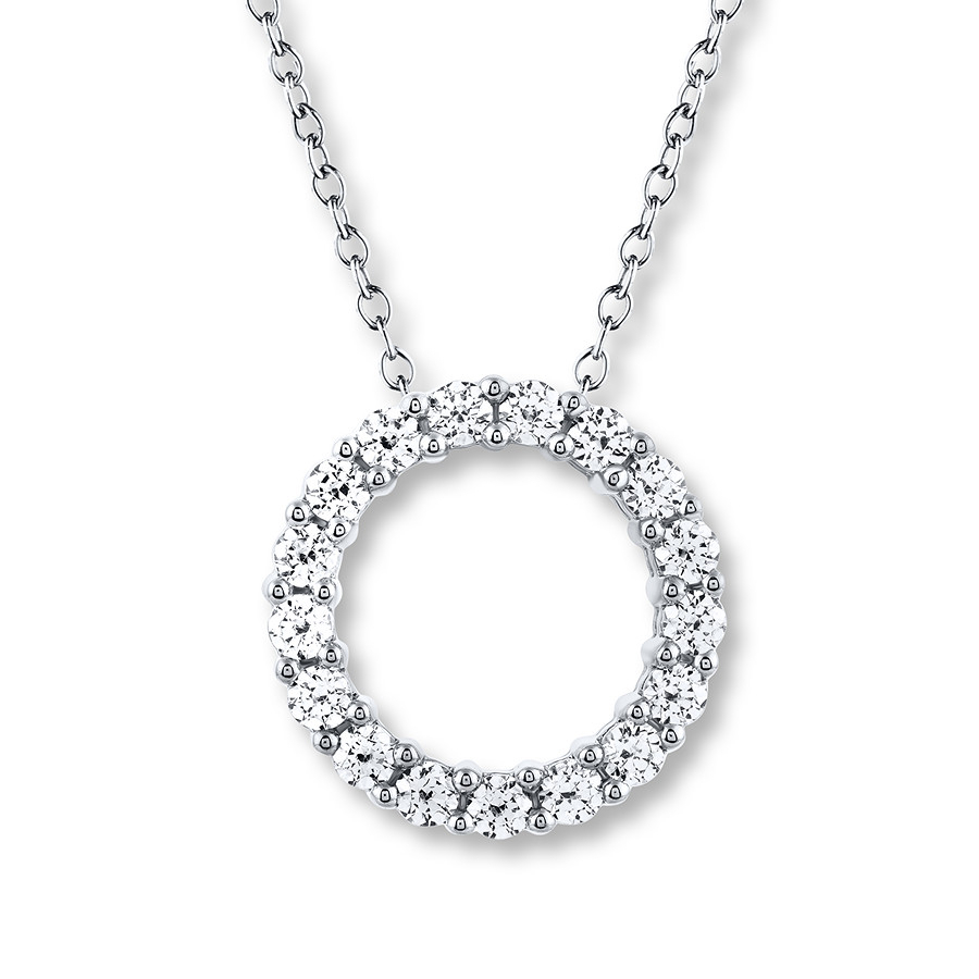 Leo Diamond Circle Necklace 1 Ct Tw Round Cut 14K White Gold With Regard To Most Popular Circle Of Sparkle Necklaces (View 16 of 25)