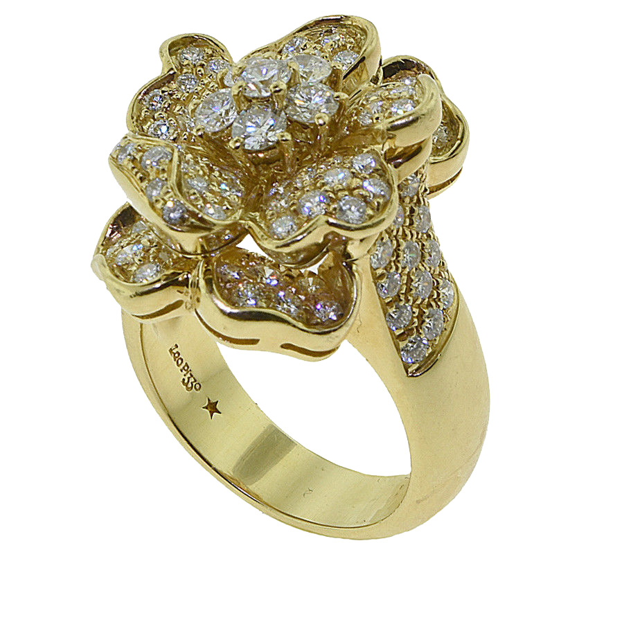 Leo Pizzo Signed Iconic Flower Pavé Diamond Ring 18k Yellow Gold Within Newest Pavé Flower Rings (View 6 of 25)