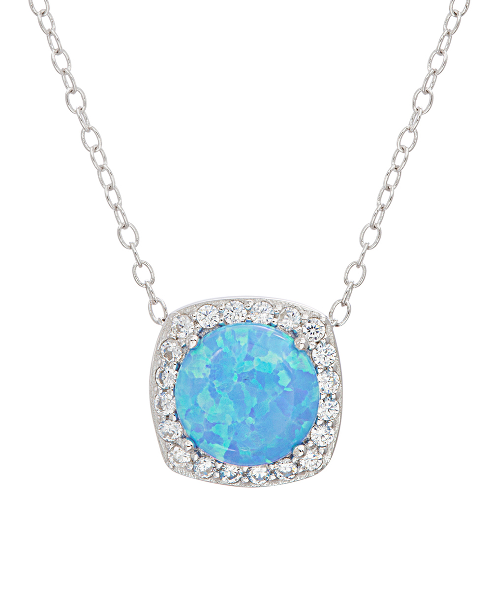 Lesa Michele Blue Opal & Cubic Zirconia Halo Square Pendant Necklace Throughout Most Up To Date Square Sparkle Halo Pendant Necklaces (View 9 of 25)