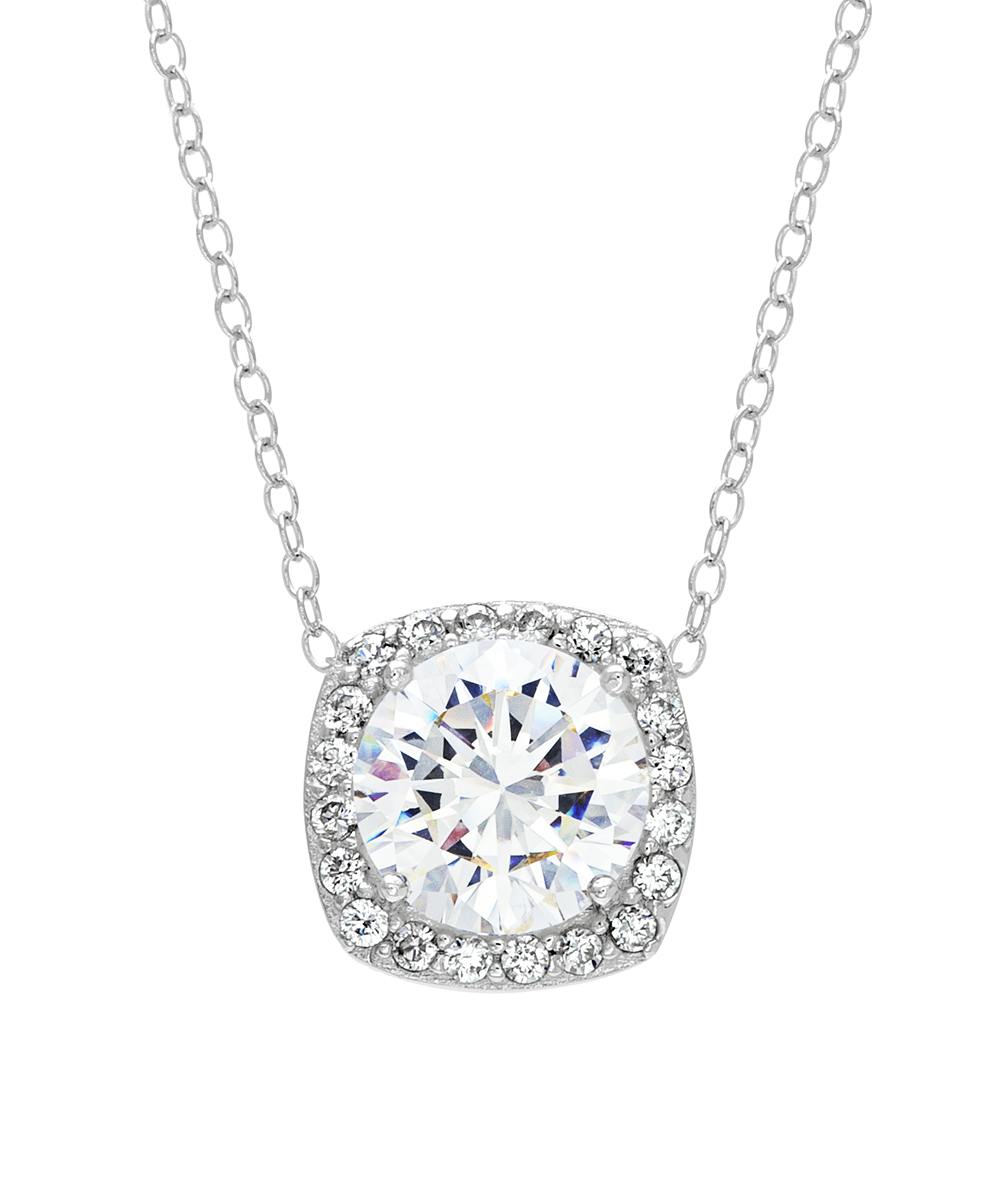 Lesa Michele Cubic Zirconia & Sterling Silver Round Halo Pendant Necklace With Regard To Most Current Round Sparkle Halo Pendant Necklaces (View 3 of 25)
