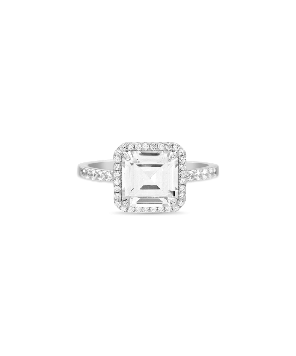 Lesa Michele Cubic Zirconia & Sterling Silver Square Cut Halo Ring With Most Recently Released Sparkling Square Halo Rings (Gallery 23 of 25)