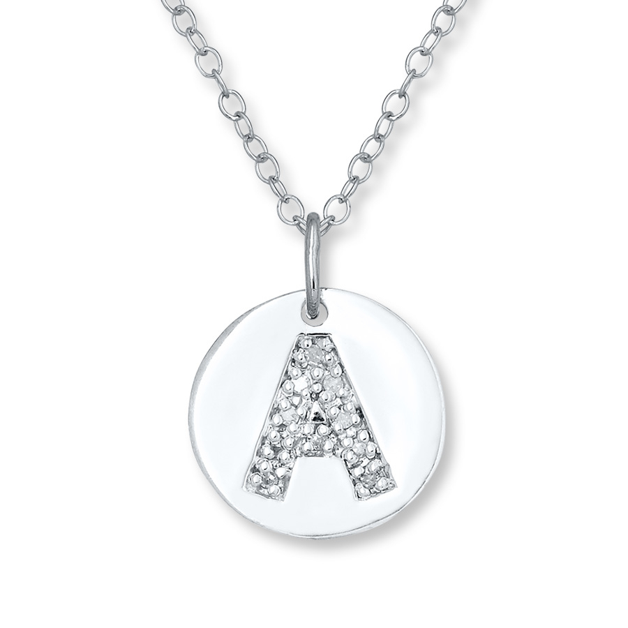 "Letter ""a"" Necklace 1/20 Ct Tw Diamonds Sterling Silver – 505677601 With Most Recently Released Letter C Alphabet Locket Element Necklaces (View 12 of 25)"