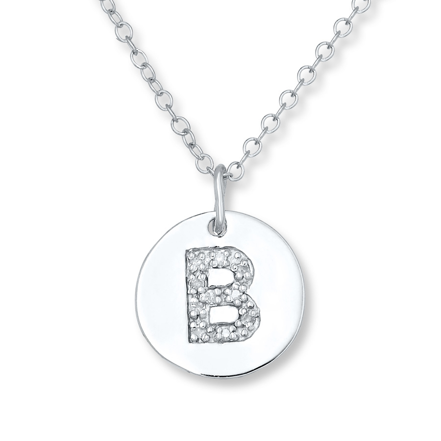 "Letter ""b"" Necklace 1/20 Ct Tw Diamonds Sterling Silver – 505677702 Throughout Newest Letter B Alphabet Locket Element Necklaces (View 14 of 25)"