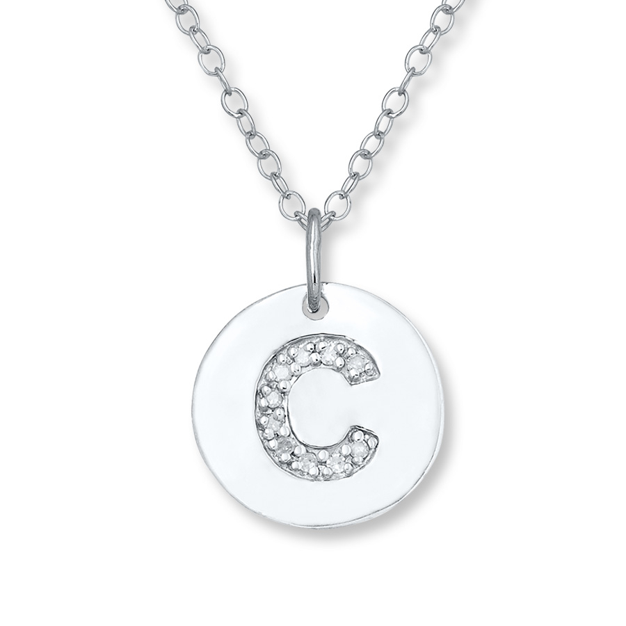 """Letter """"c"""" Necklace 1/20 Ct Tw Diamonds Sterling Silver – 505677803 With Regard To Newest Letter S Alphabet Locket Element Necklaces (View 23 of 25)"""