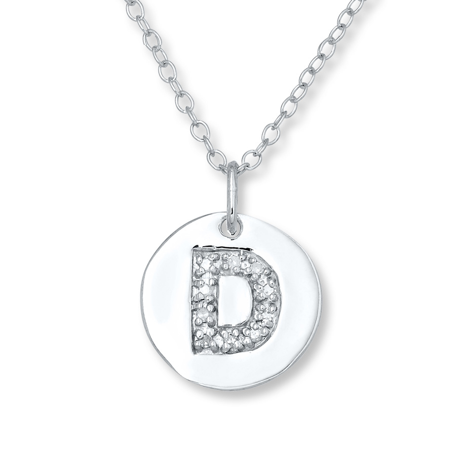 "Letter ""d"" Necklace 1/20 Ct Tw Diamonds Sterling Silver – 505677904 With Current Letter D Alphabet Locket Element Necklaces (Gallery 5 of 25)"