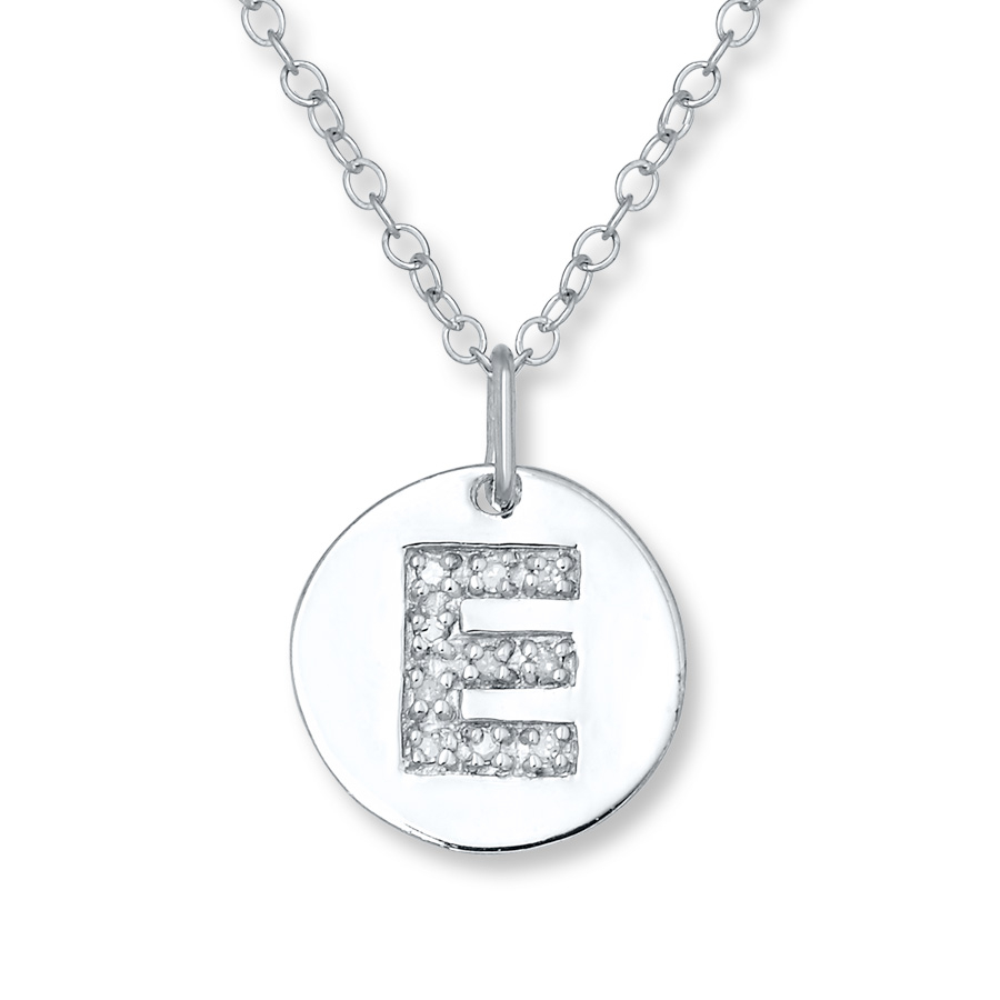 "Letter ""e"" Necklace 1/20 Ct Tw Diamonds Sterling Silver – 505678007 Inside 2020 Letter E Alphabet Locket Element Necklaces (View 13 of 25)"