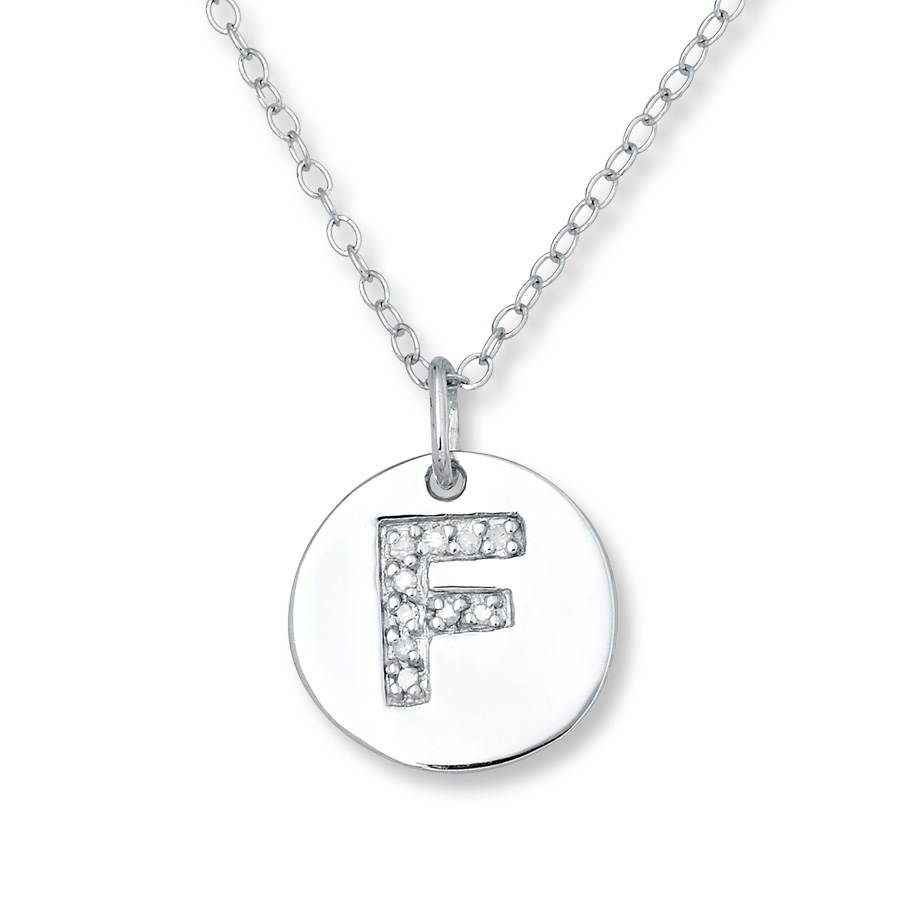 "Letter ""f"" Necklace 1/20 Ct Tw Diamonds Sterling Silver Regarding Newest Letter W Alphabet Locket Element Necklaces (View 11 of 25)"