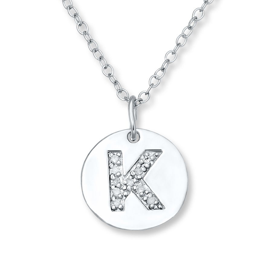 "Letter ""k"" Necklace 1/20 Ct Tw Diamonds Sterling Silver – 505678603 Within Best And Newest Letter K Alphabet Locket Element Necklaces (Gallery 2 of 25)"
