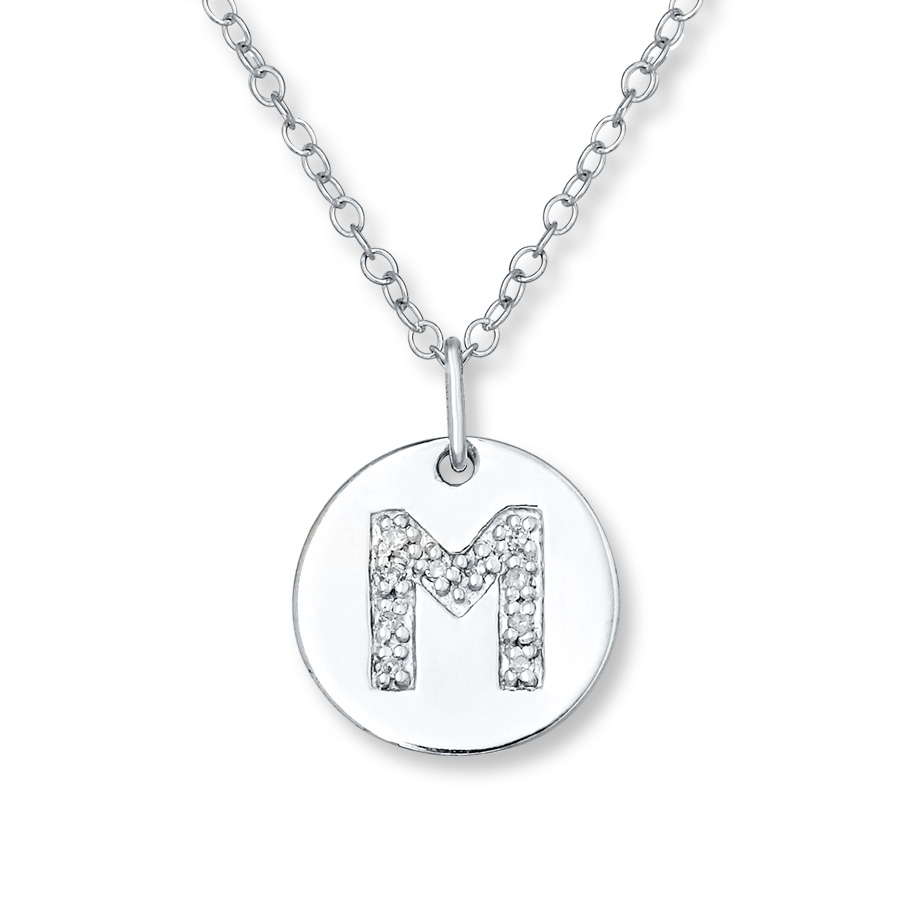 """Letter """"m"""" Necklace 1/20 Ct Tw Diamonds Sterling Silver – 505678805 Within Newest Letter O Alphabet Locket Element Necklaces (View 16 of 26)"""