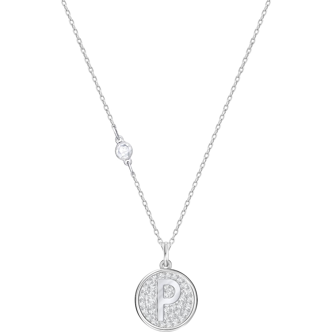 Letter P Pendant, White, Rhodium Plating Intended For Most Popular Letter P Alphabet Locket Element Necklaces (View 13 of 26)
