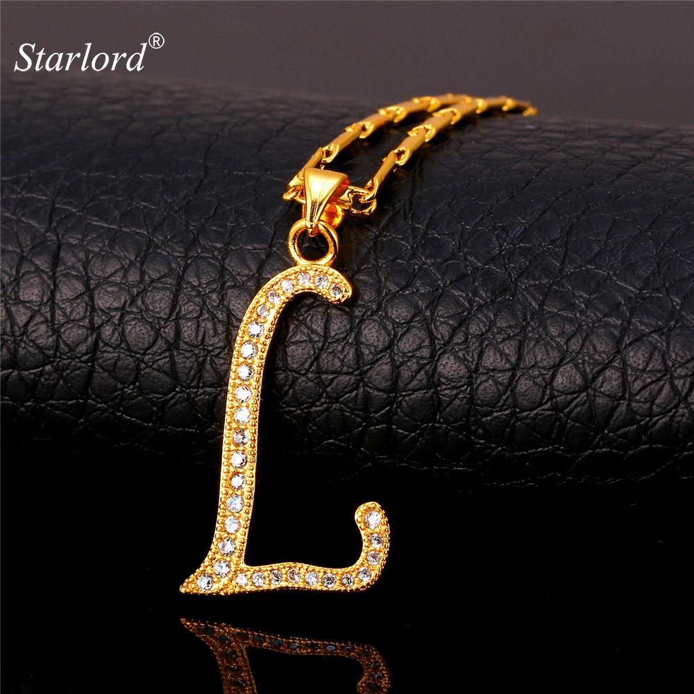 Letter Pendant Initial L Letter Pendants & Necklaces Womenmen Personalized  Gift Alphabet Jewelry Gold Color Necklace P1682 With Regard To Most Recent Letter L Alphabet Locket Element Necklaces (Gallery 18 of 25)