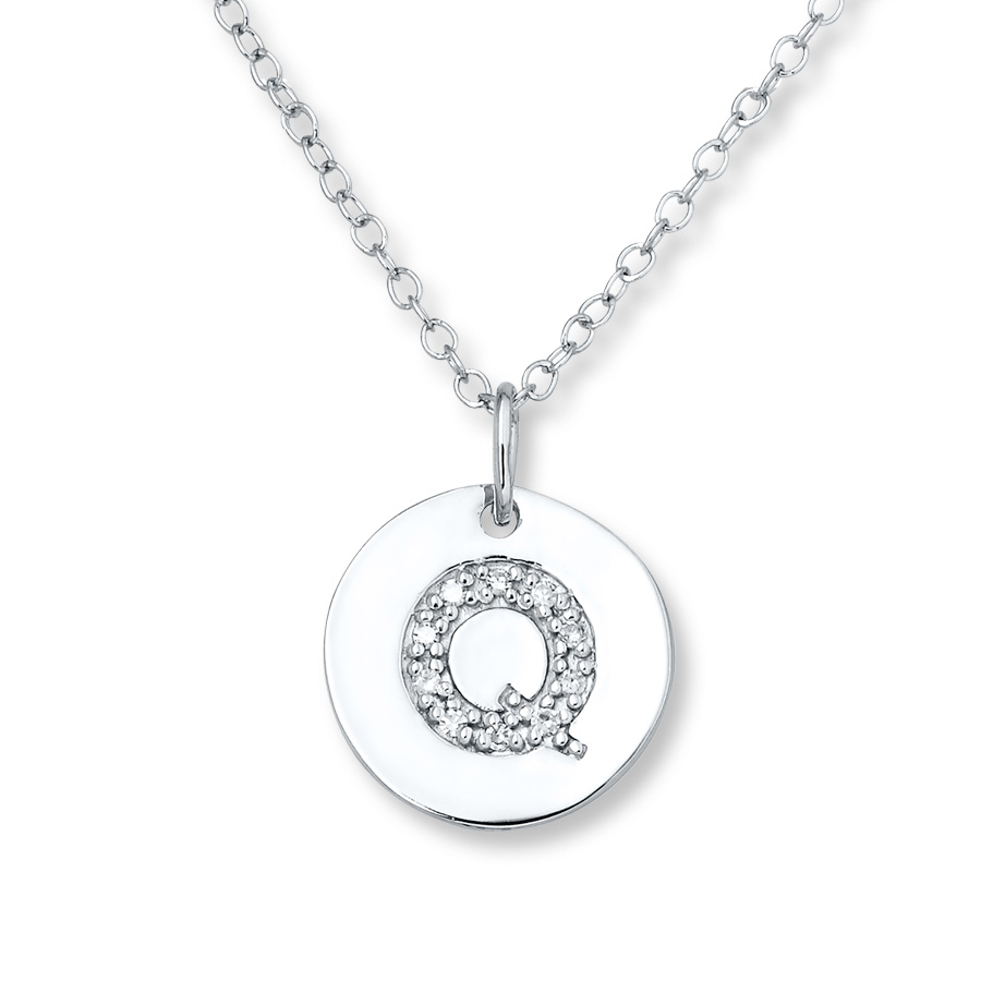 "Letter ""q"" Necklace 1/20 Ct Tw Diamonds Sterling Silver – 505679201 Pertaining To Most Up To Date Letter Q Alphabet Locket Element Necklaces (View 3 of 26)"