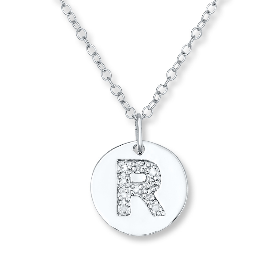 "Letter ""r"" Necklace 1/20 Ct Tw Diamonds Sterling Silver – 505679302 With Regard To Most Recently Released Letter R Alphabet Locket Element Necklaces (Gallery 2 of 25)"