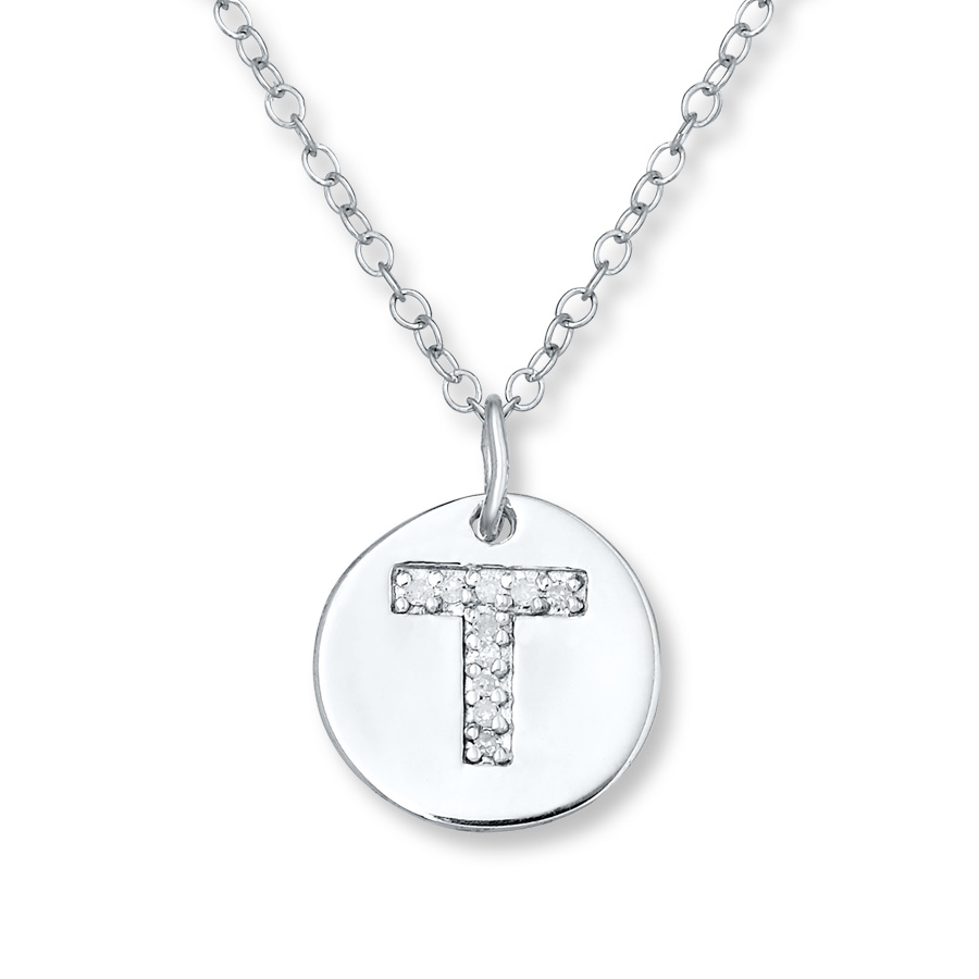 "Letter ""t"" Necklace 1/20 Ct Tw Diamonds Sterling Silver – 505679504 Throughout Best And Newest Letter T Alphabet Locket Element Necklaces (View 15 of 25)"