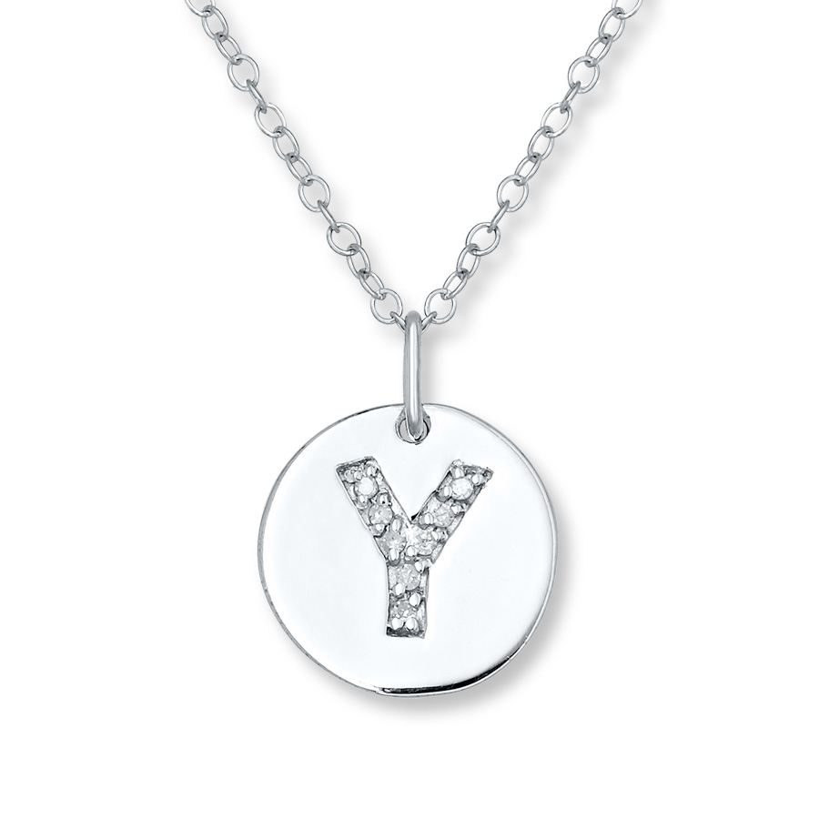"Letter ""y"" Necklace 1/20 Ct Tw Diamonds Sterling Silver – 505680001 Regarding Most Recently Released Letter W Alphabet Locket Element Necklaces (View 6 of 25)"
