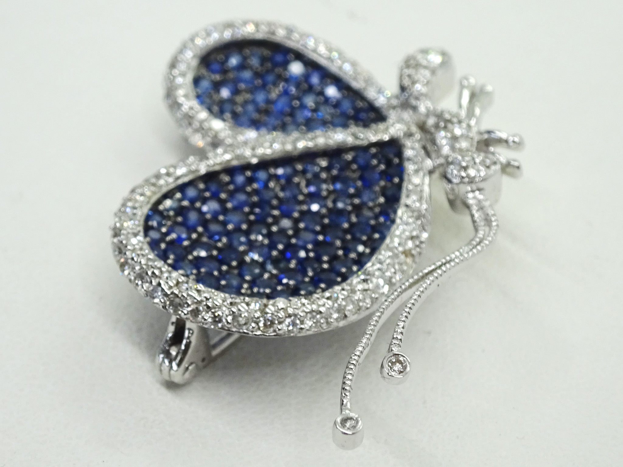 Levian Le Vian 18k Diamond & Blue Sapphire Butterfly Brooch Pin Pendant For Most Current Blue Pavé Butterfly Brooch Necklaces (View 17 of 25)