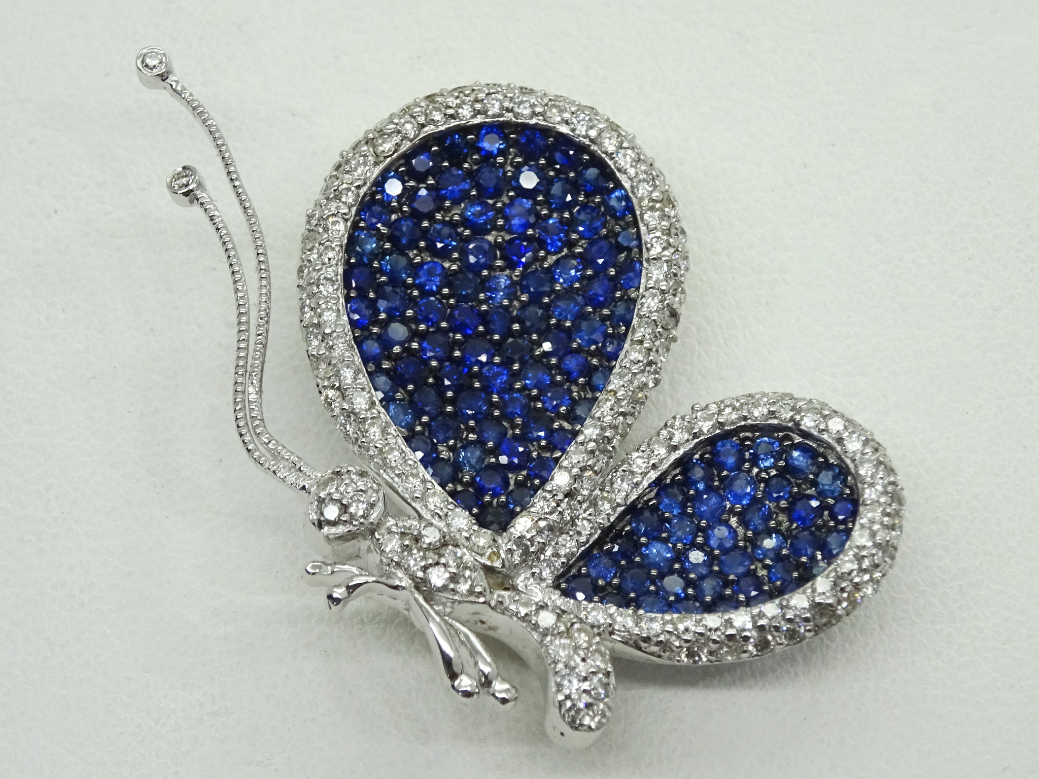Levian Le Vian 18k Diamond & Blue Sapphire Butterfly Brooch Pin Pendant Throughout 2020 Blue Pavé Butterfly Brooch Necklaces (View 10 of 25)