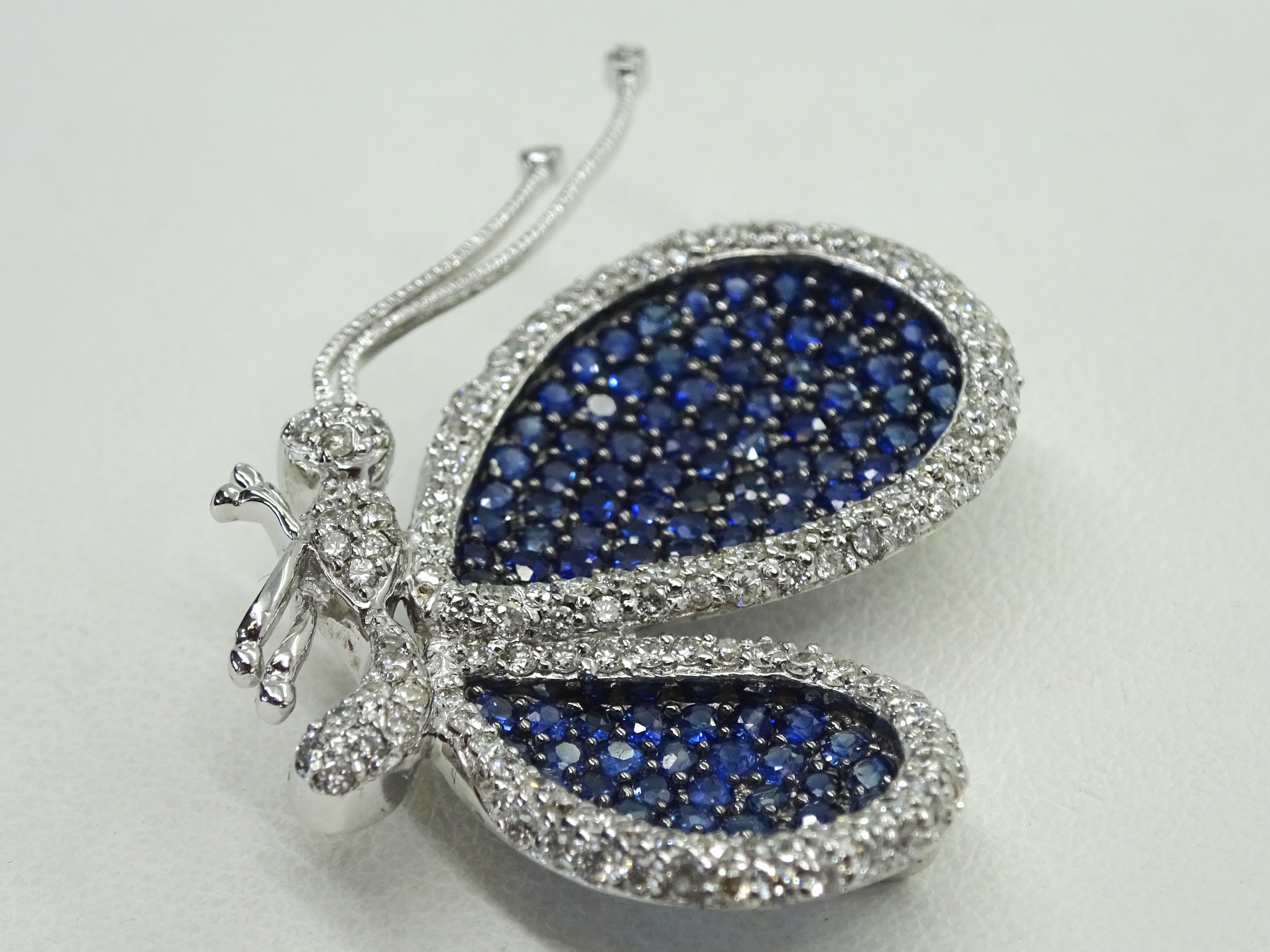 Levian Le Vian 18k Diamond & Blue Sapphire Butterfly Brooch Pin Pendant Within Most Recent Blue Pavé Butterfly Brooch Necklaces (View 7 of 25)