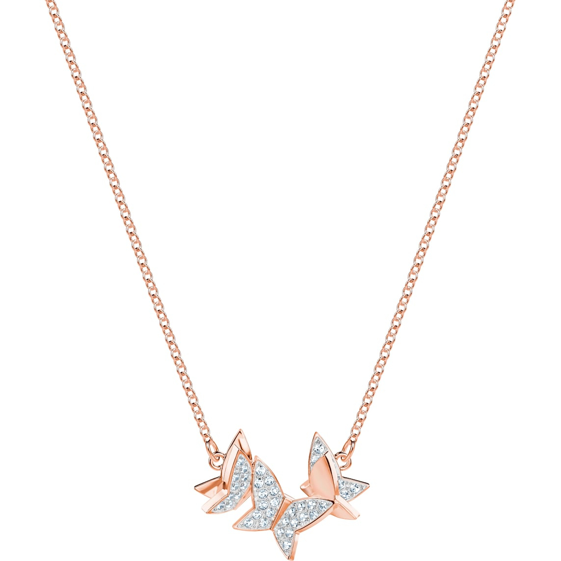 Lilia Necklace, White, Rose Gold Tone Plated With Newest Sparkling Butterfly Y  Necklaces (View 17 of 25)