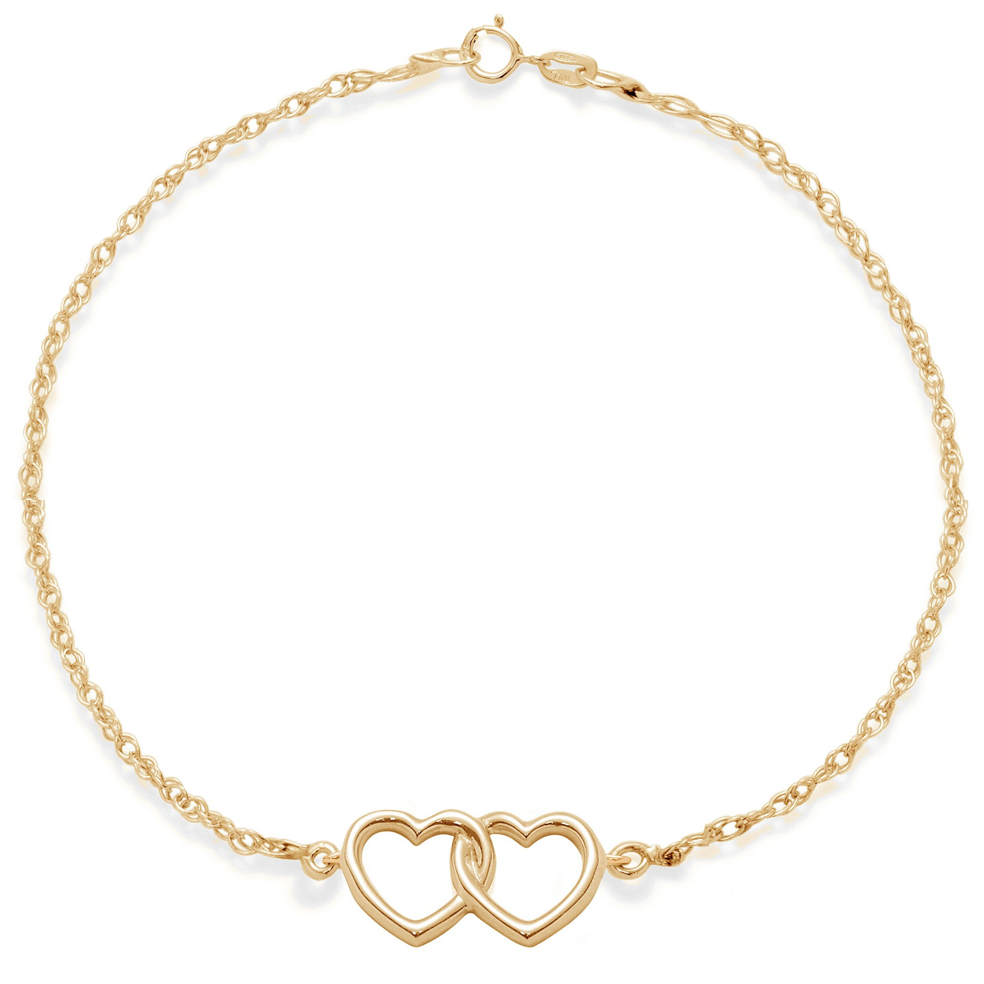 Lilou – Bracelet With Gold Plated Joined Hearts On A Chain Inside Newest Joined Hearts Chain Necklaces (View 12 of 25)