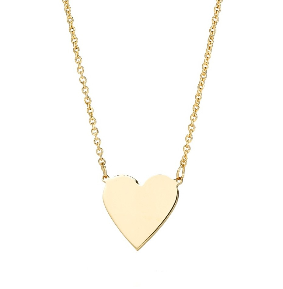 Lily Solid Heart Necklace In Newest Joined Hearts Chain Necklaces (View 11 of 25)