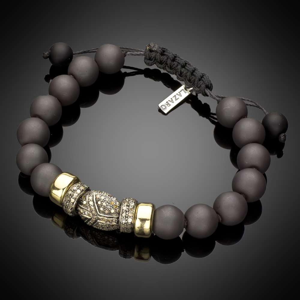 Limited Edition Hematite Beads With 14k Gold & Pave Diamonds Bracelet For Current Beads & Pavé Necklaces (View 5 of 25)