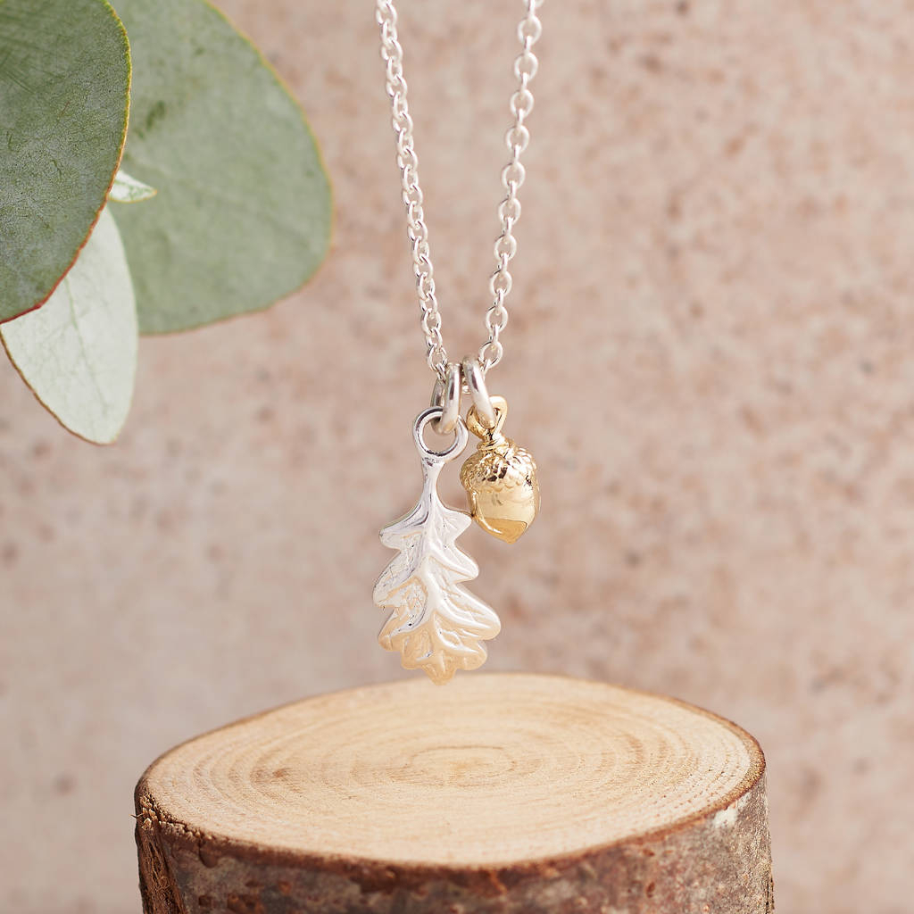 Little Acorn And Oak Leaf Silver And Gold Necklace Pertaining To 2020 Oak Leaf Necklaces (Gallery 5 of 25)