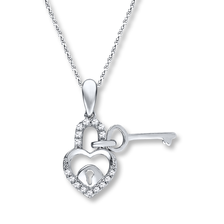 Lock And Key Necklace 1/10 Ct Tw Diamonds Sterling Silver Within Most Recent Heart Shaped Padlock Necklaces (Gallery 22 of 25)
