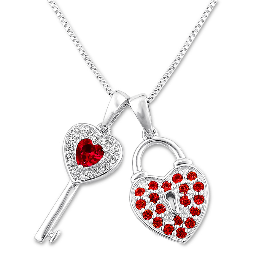 Lock & Key Necklace Lab Created Rubies Sterling Silver Regarding Most Recently Released Heart Padlock Locket Element Necklaces (Gallery 6 of 25)