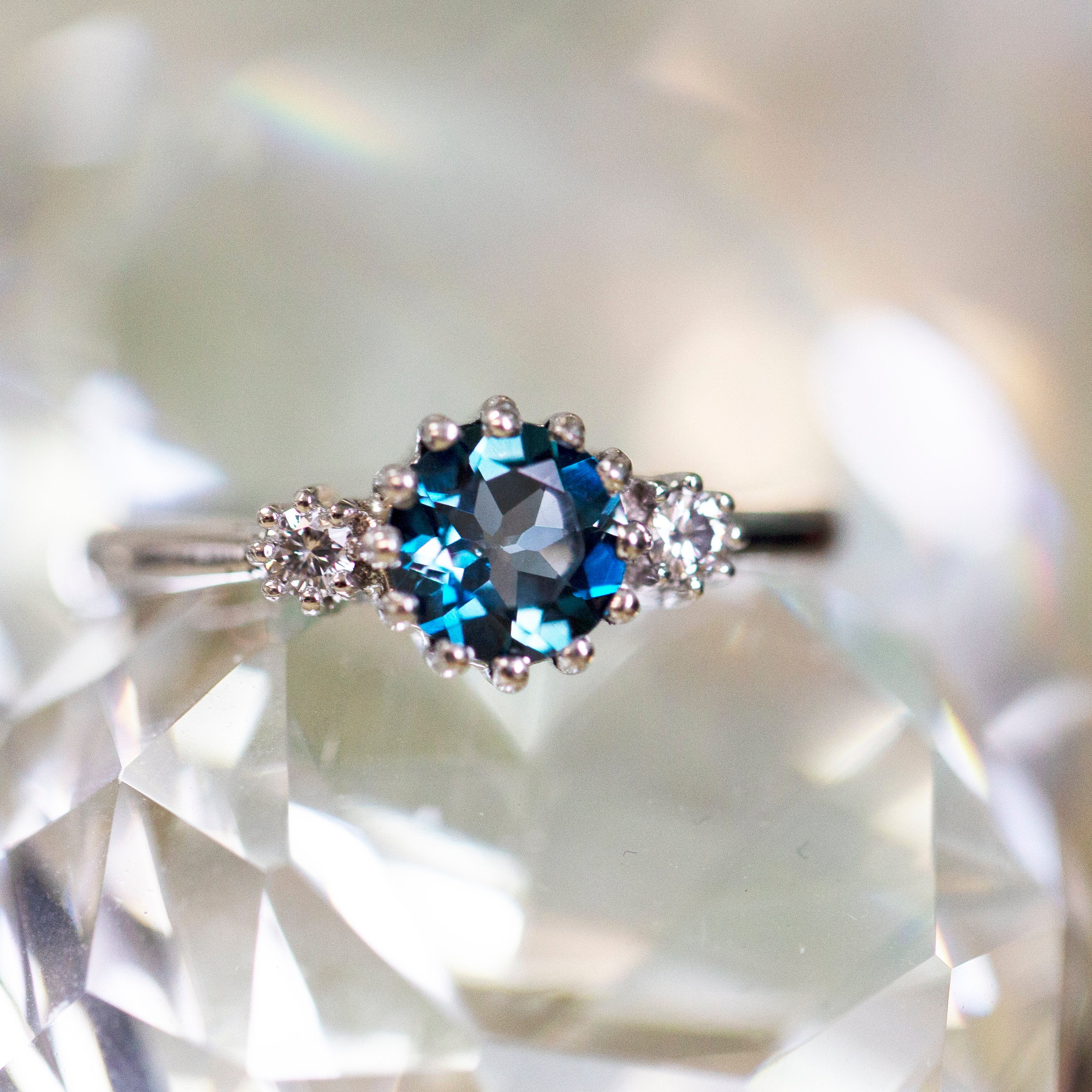 London Blue Topaz And Diamond Ring In 14k White Gold, Crown Ring, Three Stone Ring, November Birthstone, Blue Engagement Ring, Gift For Her Intended For 2017 Blue Sparkling Crown Rings (View 4 of 25)
