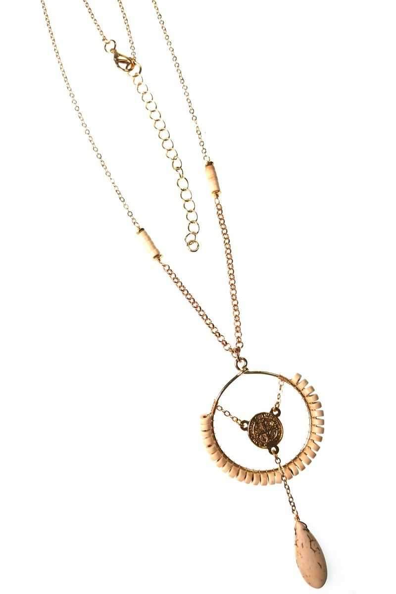 Long Chain Necklace With Beaded Circle, Center Detail, And Dangle In Most Recent Shimmering Knot Locket Element Necklaces (View 12 of 25)
