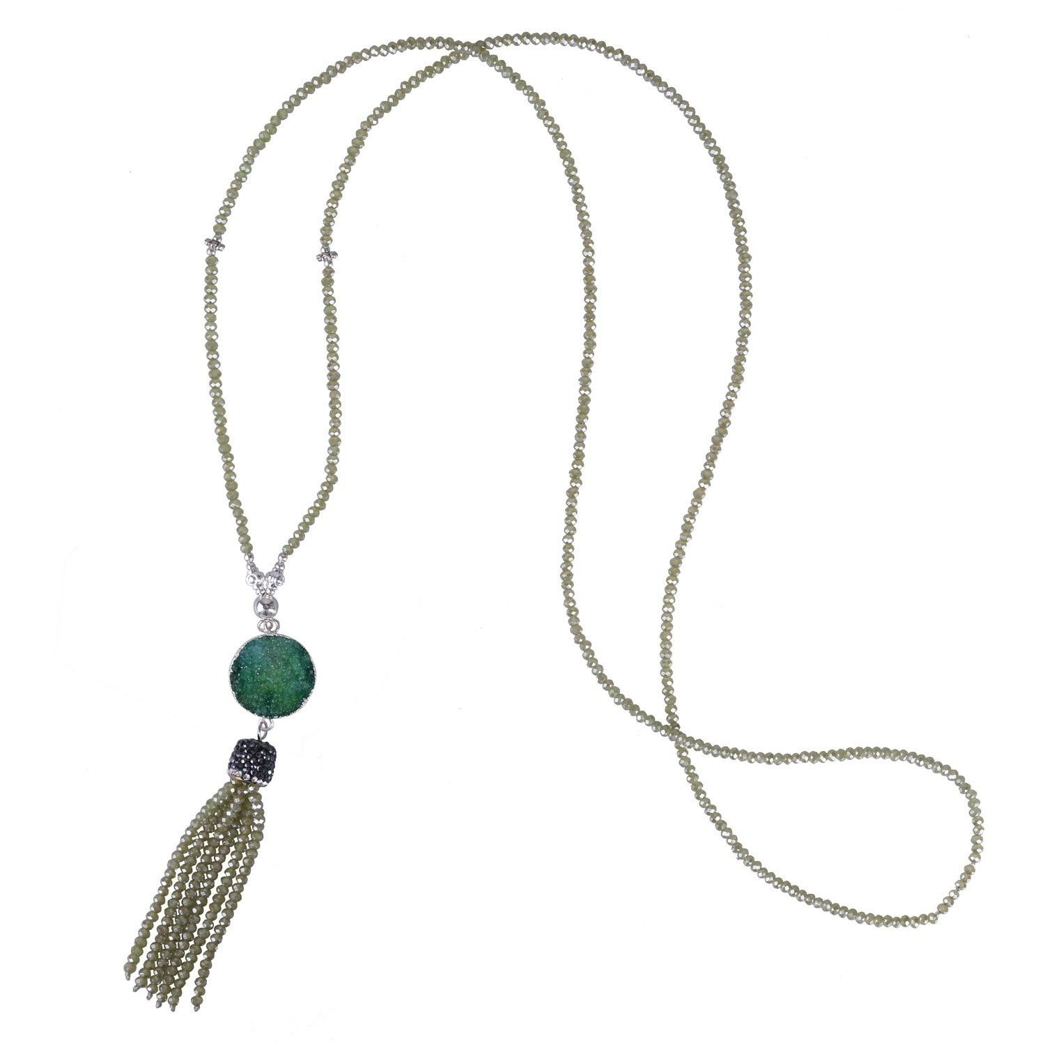 Long Crystal Beaded Necklace With Pave Crystal Capped Tassel With Regard To Best And Newest Beads & Pavé Necklaces (Gallery 23 of 25)