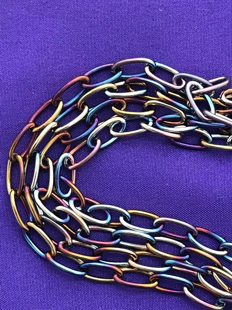Long Link Cable Chain – Multicolor Chain Necklace – Colorful Chain – Large Link Chain For Most Current Long Link Cable Chain Necklaces (View 4 of 25)