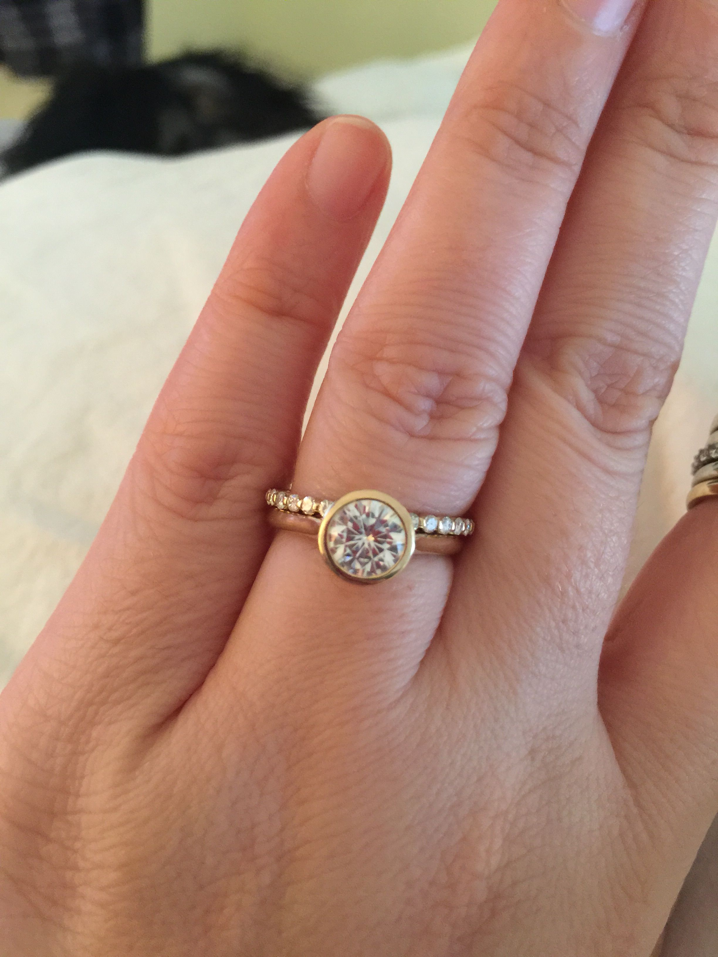 Looking For Ideas For Wedding Band With Bezel Set Engagement Pertaining To Most Recently Released Champagne And White Diamond Edge Anniversary Bands In Rose Gold (View 17 of 25)