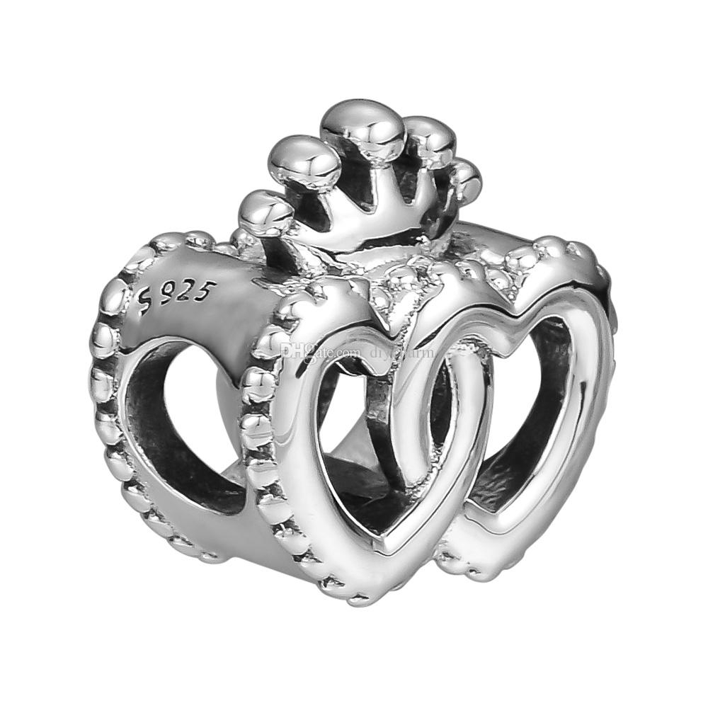 Loose Beads Interlocked Crown Hearts Charms 925 Sterling Silver Bead Fits For Pandora Bracelets For Women Beads For Jewelry Diy Making Regarding Current Crown & Interwined Hearts Pendant Necklaces (View 6 of 25)
