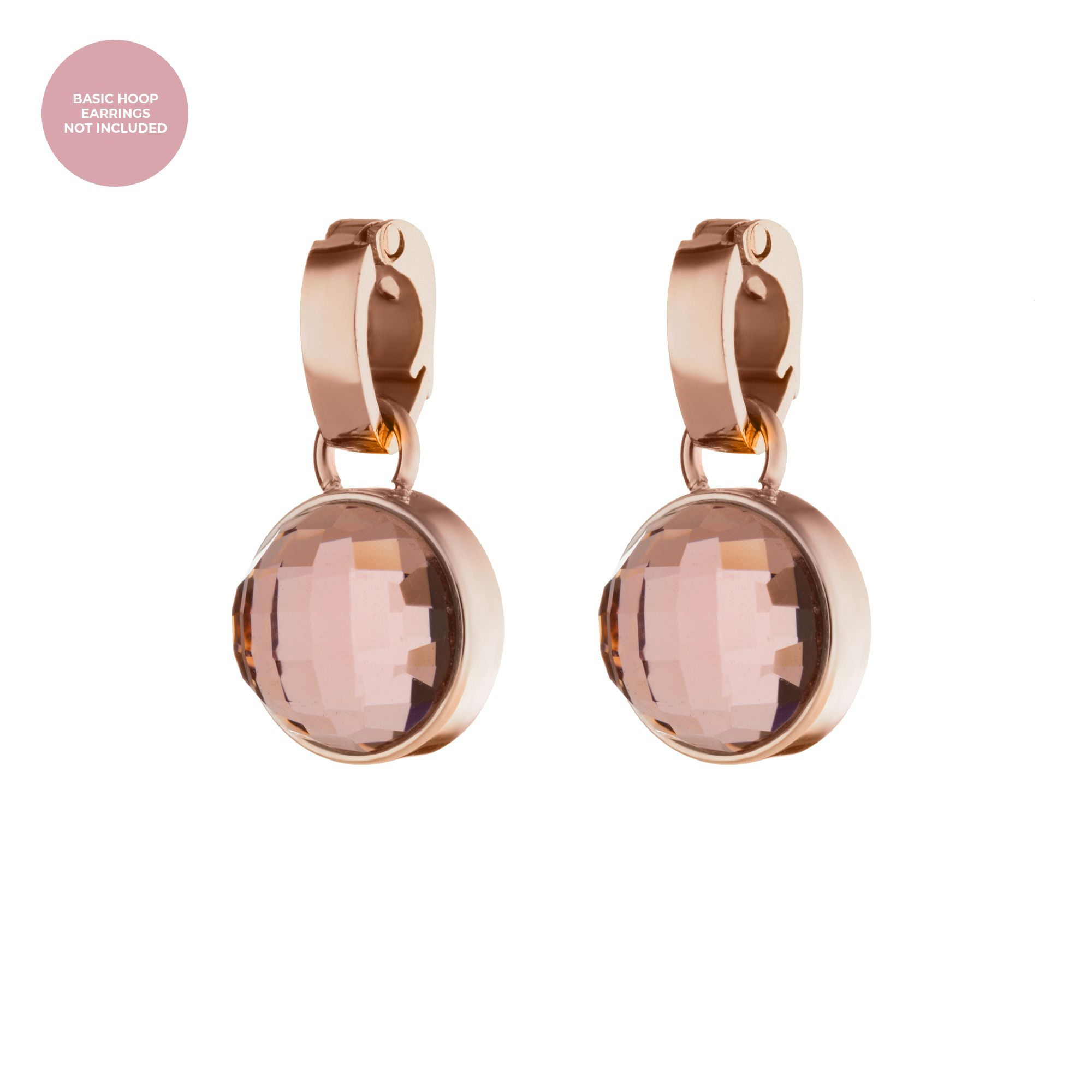 Love Dainty Signature Earring Pendants Rose Gold, Pink Glass For Most Popular Pink October Birthstone Locket Element (View 4 of 25)