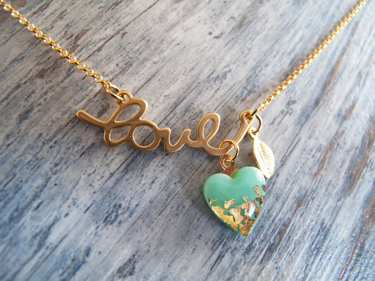 Love Heart Necklace – Gold Mint Necklace | Gift Ideas | Jewelry Throughout Best And Newest Ampersand Alphabet Locket Element Necklaces (View 9 of 25)