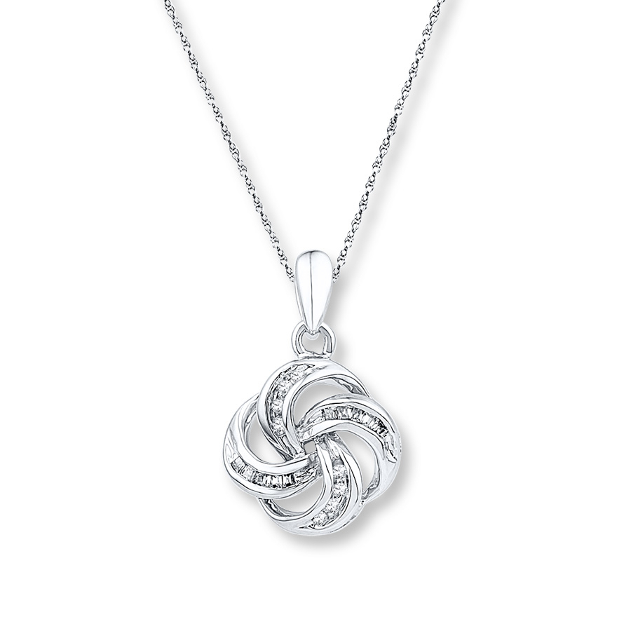 Love Knot Necklace 1/10 Ct Tw Diamonds Sterling Silver Intended For Best And Newest Shimmering Knot Pendant Necklaces (Gallery 4 of 25)