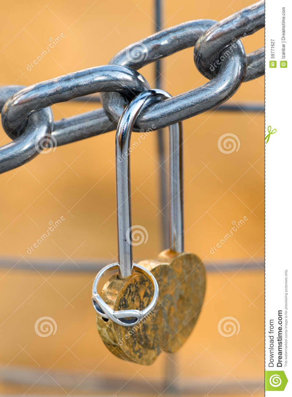Love Padlock And Engagement Ring Hanging From A Chain Stock Image Inside Most Current Heart Shaped Padlock Rings (View 15 of 25)